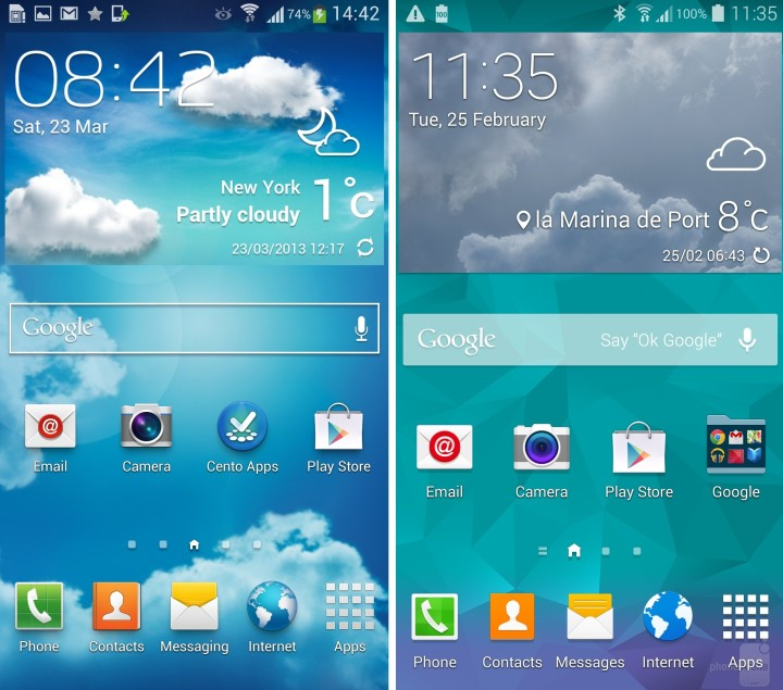 From Left: S4 UI and S5 UI   PHOTO CREDIT: PHONEARENA
