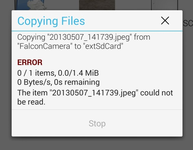 Trying to write files to the microSD card will give you this | PHOTO CREDIT: Gottabemobile