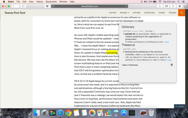 You can force-click on words in a webpage to get their definitions when using Safari.